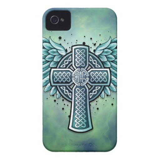 Celtic Cross with Wings Blackberry Cases