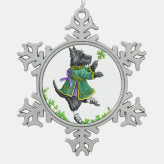 Celtic dancing Scottie Snowflake Pewter Christmas Ornament