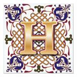 Celtic Design Letter H 13 Cm X 13 Cm Square Invitation Card