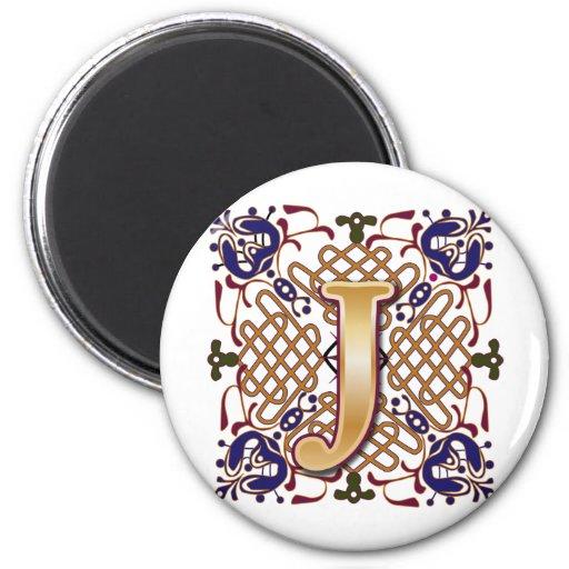 Celtic Design Letter J Fridge Magnet