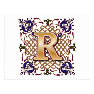 Celtic Design Letter R Postcard