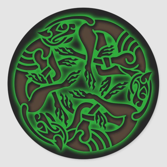 Celtic Dog Chase Classic Round Sticker