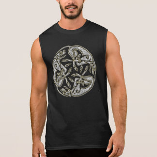 Celtic dogs  traditional ornament gold and silver sleeveless t-shirts