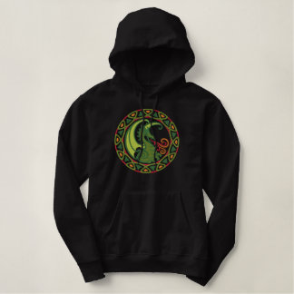 Celtic Dragon Embroidered Pullover Hoodie