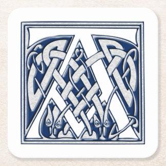 Celtic Dragon Initial A Square Paper Coaster
