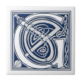 Celtic Dragon Initial G Small Square Tile