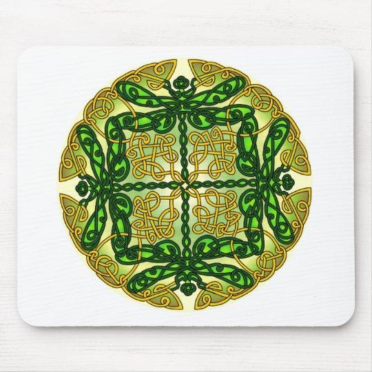 Celtic Dragonflies Green Mouse Mat