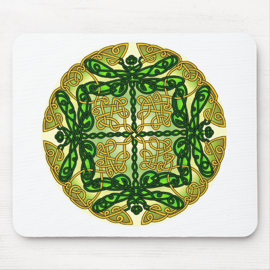 Celtic Dragonflies Green Mouse Pad