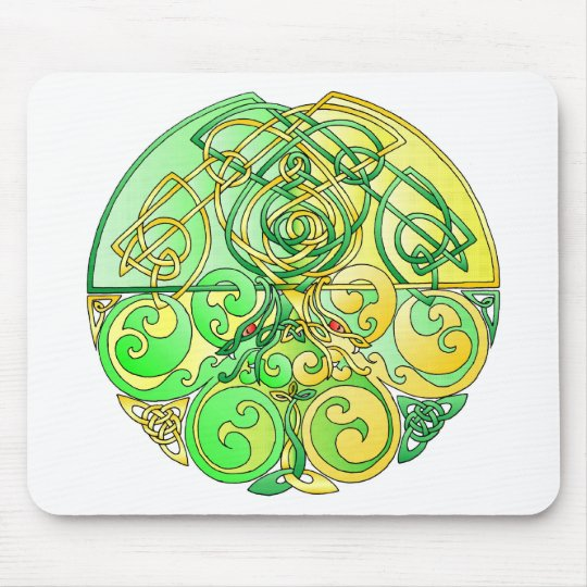 Celtic DragonsYellow-Green Mouse Pad
