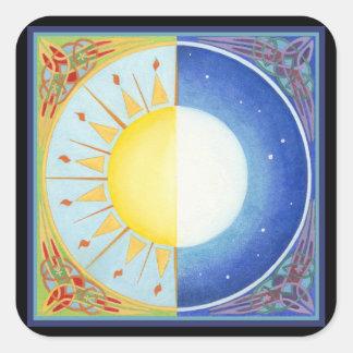 Celtic Equinox Sun and Moon Square Sticker
