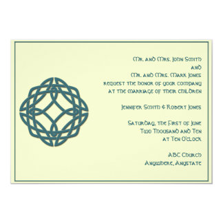 Celtic Eternity Knot in Teal and Ivory Wedding 13 Cm X 18 Cm Invitation Card