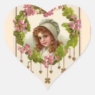 Celtic Girl in Bonnet Purple Flowers Gold Shamrock Heart Sticker