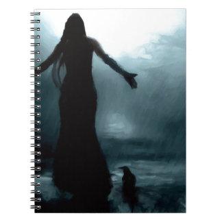 celtic goddess morrigan crow raven rain water spiral notebook