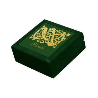 Celtic Golden Snake on Dark Green Jewelry Box