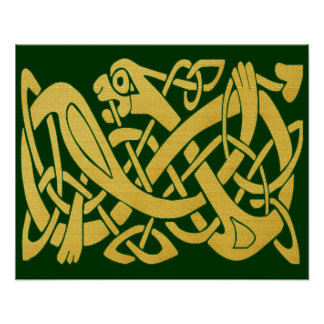 Celtic Golden Snake on Dark Green Poster