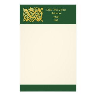 Celtic Golden Snake on Dark Green Writing Paper