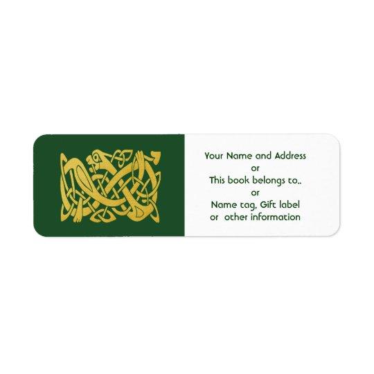 Celtic Golden Snake on Green Return Address