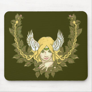 Celtic Green Lady Wreath Mouse Pad