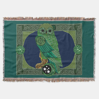 Celtic Green Owl Throw Blanket