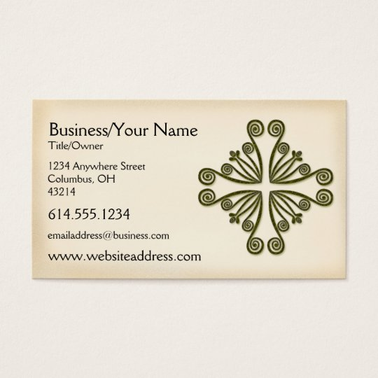 Celtic Green Scrolled Design :: Business Card