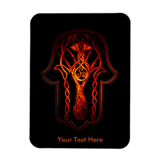Celtic Hamsa Hand (Orange/Red) Rectangular Photo Magnet