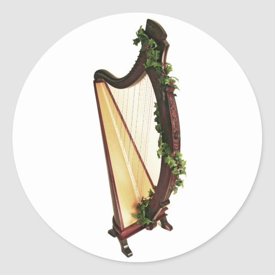Celtic Harp Christmas Classic Round Sticker