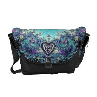 Celtic Heart Fractal Tapestry Messenger Bag