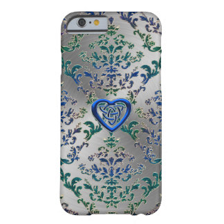 Celtic Heart Knot On Damask n Metal iPhone Case