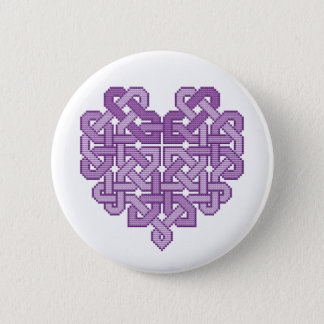 Celtic Heart Lilac Pin Button Badge