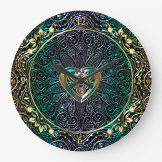 Celtic Heart Mandala In Green and Gold Large Clock