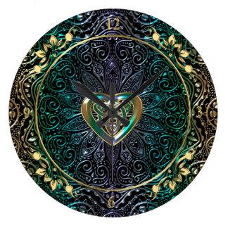 Celtic Heart Mandala In Green and Gold Wallclock