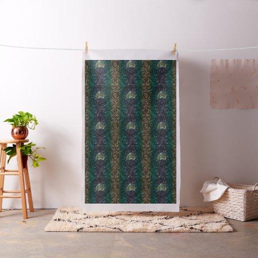 Celtic Heart Mandala In Green Gold Fabric