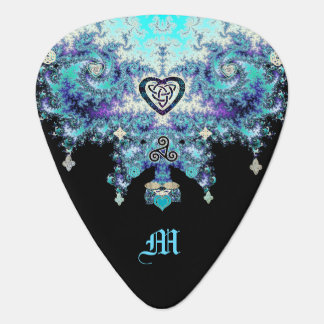 Celtic Heart Triskele Fractal Black Guitar Pick