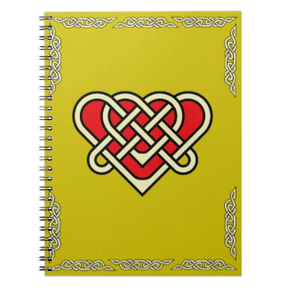 Celtic heart with celtic braided border red spiral notebook