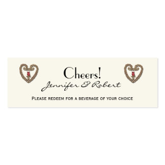 Celtic Heart with Red Rose Wedding Drink Ticket Business Card Templates