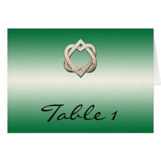 Celtic Hearts on Green Gradient Table Number