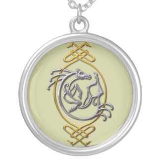 Celtic Horse - silver and gold Silver Plated Necklace