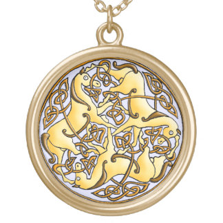 Celtic horses and knots in circle round pendant necklace