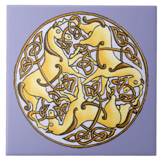 Celtic horses and knots in circle tile