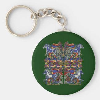 Celtic Horses & Birds Keychain, Green Basic Round Button Key Ring