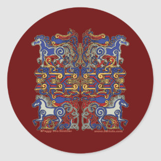 Celtic Horses & Birds Stickers, Burgundy Round Sticker
