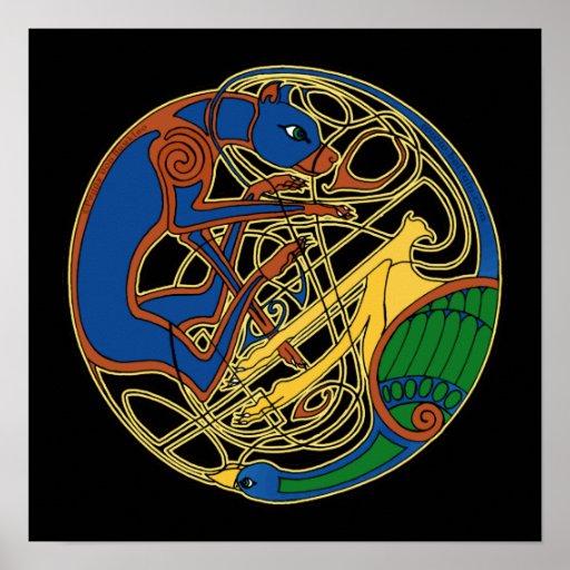 Celtic Hound and Bird Celtic Art Prints