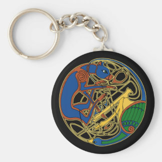 Celtic Hound & Bird Keychain, Black Basic Round Button Key Ring