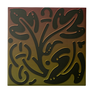 Celtic Inspired Tile 3 in bronze and green tones