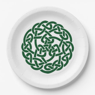 Celtic Knot 2 round green 9 Inch Paper Plate