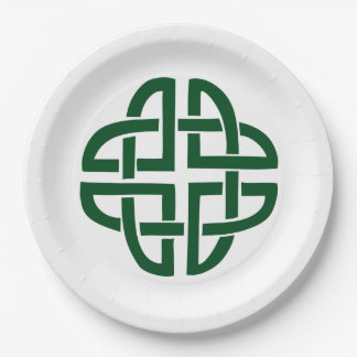 Celtic Knot 4 round green 9 Inch Paper Plate