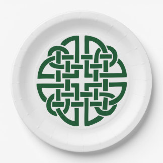 Celtic Knot 5 round green 9 Inch Paper Plate
