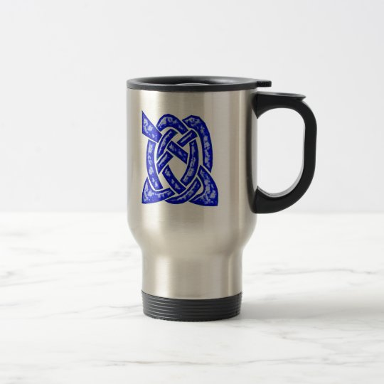 Celtic Knot 6 Dark Blue Travel Mug
