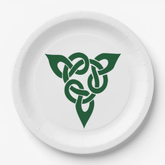 Celtic Knot 6 tricorner green 9 Inch Paper Plate