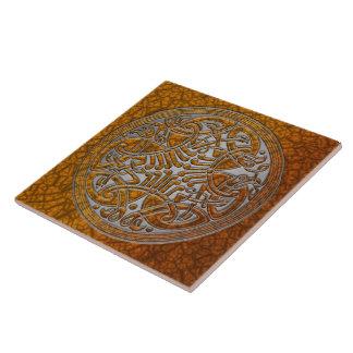 Celtic Knot Amber Birds & Silver-Trivet Large Square Tile